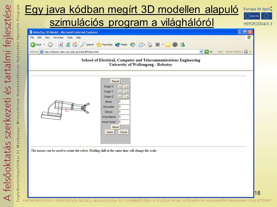 16 Egy java kódban megírt 3D modellen alapuló szimulációs program a világhálóról