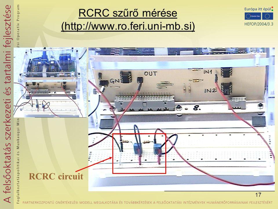 17 RCRC szűrő mérése (http://www.ro.feri.uni-mb.si) RCRC circuit