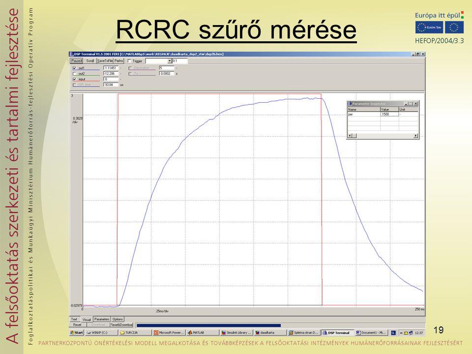 19 RCRC szűrő mérése