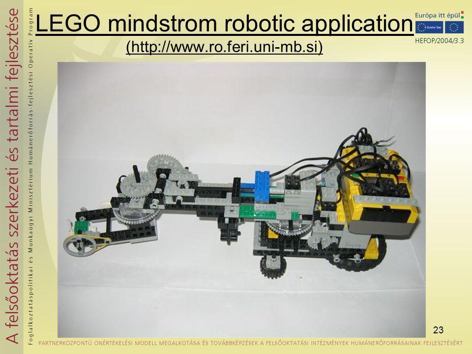 23 LEGO mindstrom robotic application (http://www.ro.feri.uni-mb.si)