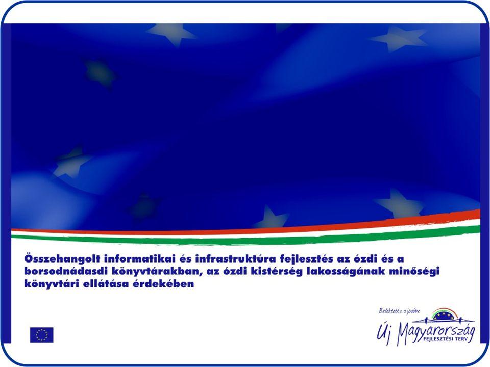 A támogatás összege Az Európai Unió és a Magyar Állam által nyújtott támogatás összege 7.997.500,- Ft •A támogatás több mint 60 %-ból számítógépek, számítástechnikai eszközök, szoftverek és műszaki eszközök beszerzése válik lehetővé •Beruházás, világításkorszerűsítés A projekt az Európai Unió támogatásával, az Európai Regionális Fejlesztési Alap társfinanszírozásával valósul meg.