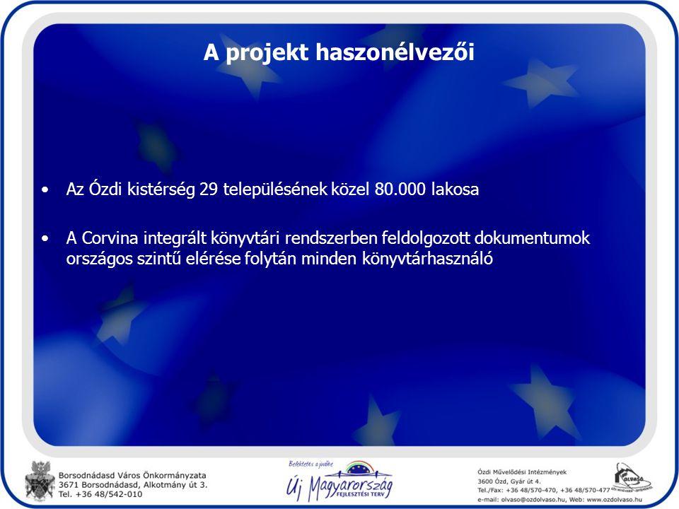 A projekt haszonélvezői •Az Ózdi kistérség 29 településének közel 80.000 lakosa •A Corvina integrált könyvtári rendszerben feldolgozott dokumentumok országos szintű elérése folytán minden könyvtárhasználó