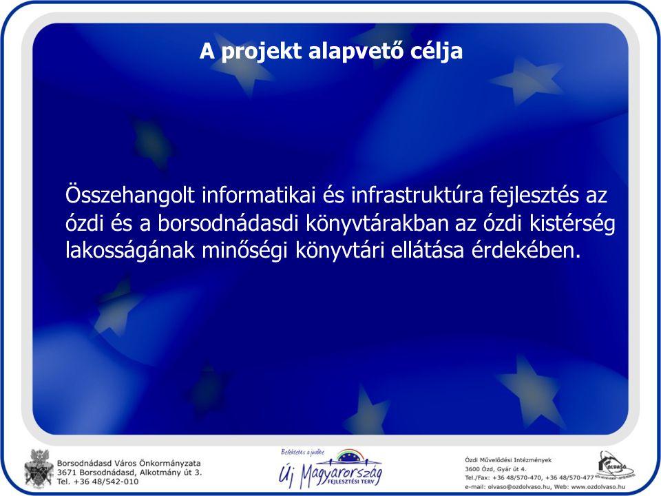 A projekt alapvető célja Összehangolt informatikai és infrastruktúra fejlesztés az ózdi és a borsodnádasdi könyvtárakban az ózdi kistérség lakosságának minőségi könyvtári ellátása érdekében.