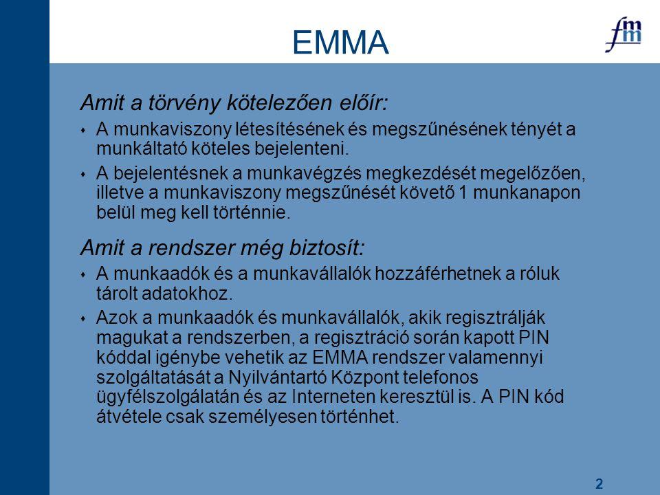 2 EMMA Amit a törvény kötelezően előír:  A munkaviszony létesítésének és megszűnésének tényét a munkáltató köteles bejelenteni.  A bejelentésnek a m