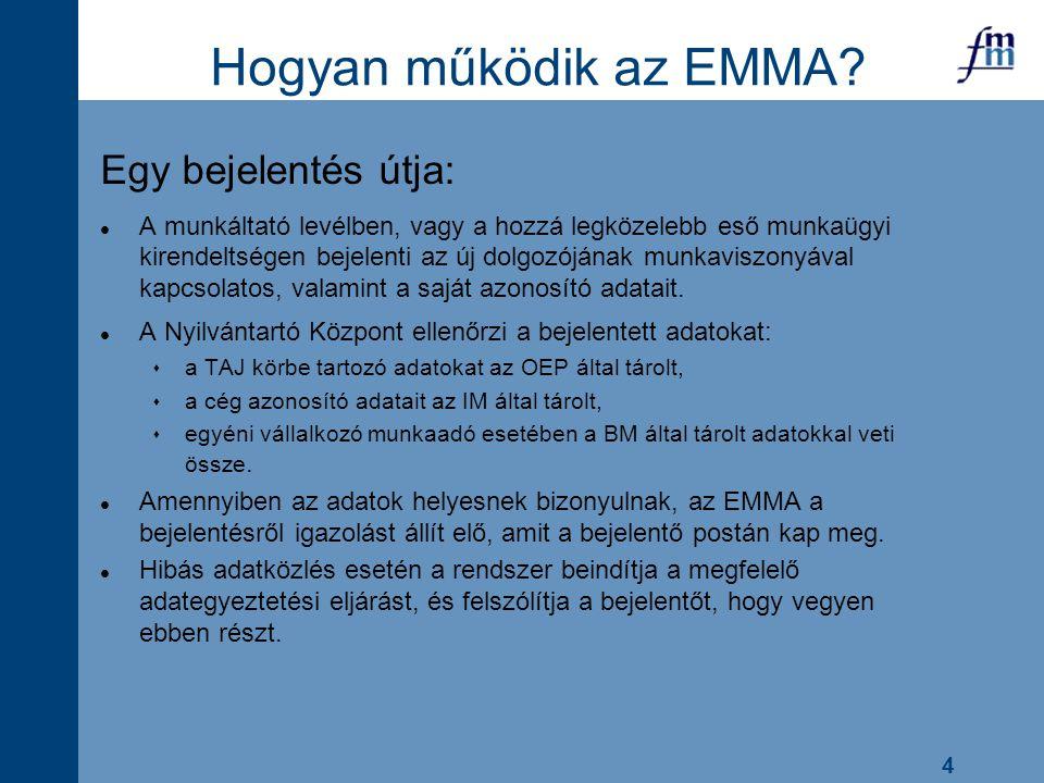4 Hogyan működik az EMMA? Egy bejelentés útja: l A munkáltató levélben, vagy a hozzá legközelebb eső munkaügyi kirendeltségen bejelenti az új dolgozój