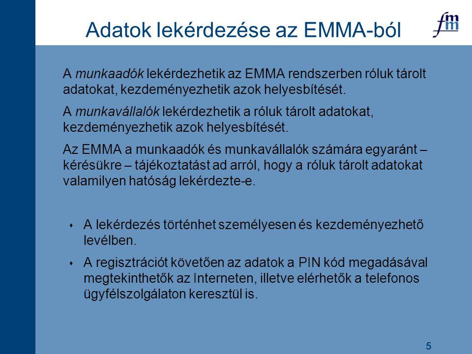 5 Adatok lekérdezése az EMMA-ból A munkaadók lekérdezhetik az EMMA rendszerben róluk tárolt adatokat, kezdeményezhetik azok helyesbítését. A munkaváll