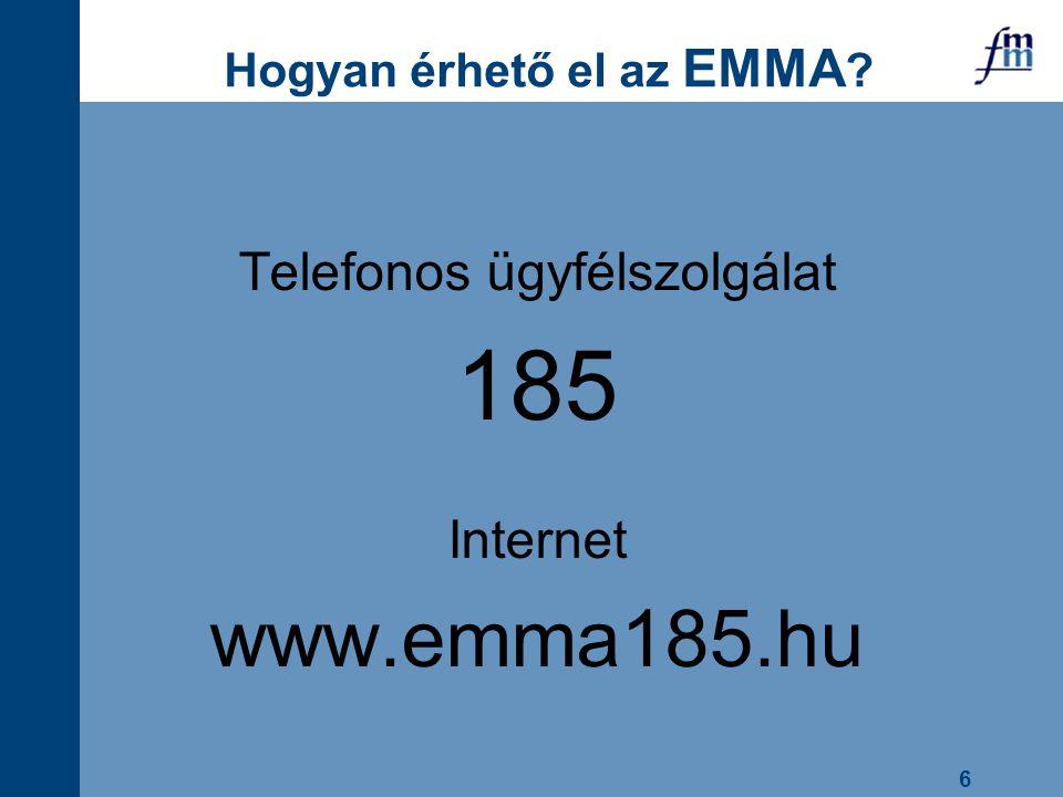 6 Hogyan érhető el az EMMA ? Telefonos ügyfélszolgálat 185 Internet www.emma185.hu