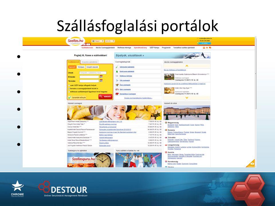 Szállásfoglalási portálok • Jól optimalizált portálok • Nagy látogatószám • Bejáratott márkák • Komoly előírások • Magas jutalékok • Kontingens igényes