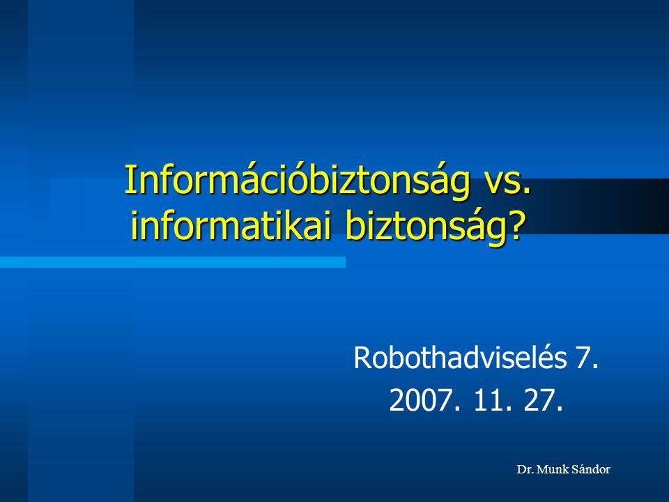 Dr. Munk Sándor Információbiztonság vs. informatikai biztonság? Robothadviselés 7. 2007. 11. 27.