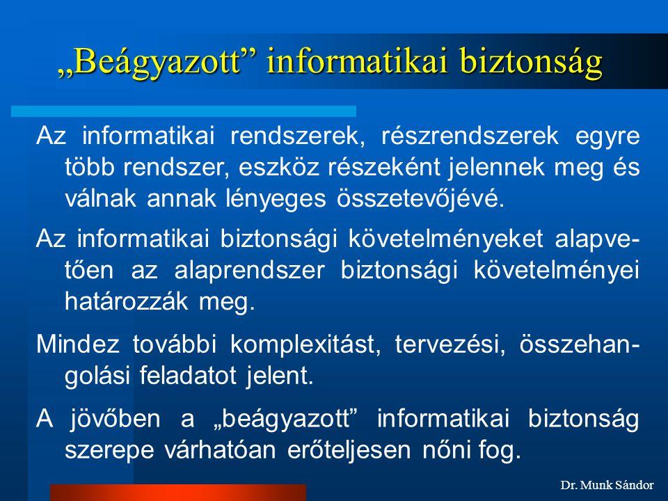 """Dr. Munk Sándor """"Beágyazott"""" informatikai biztonság Az informatikai biztonsági követelményeket alapve- tően az alaprendszer biztonsági követelményei h"""