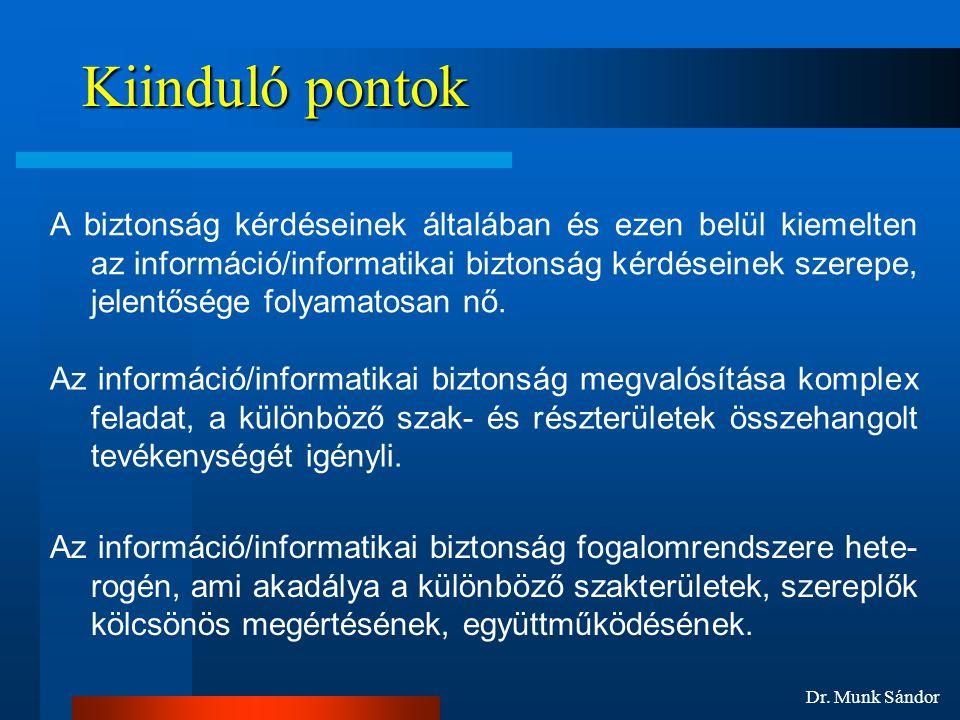 Dr. Munk Sándor Kiinduló pontok A biztonság kérdéseinek általában és ezen belül kiemelten az információ/informatikai biztonság kérdéseinek szerepe, je