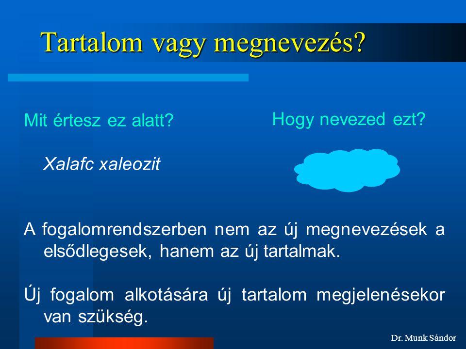 Dr.Munk Sándor Tartalom vagy megnevezés. Mit értesz ez alatt.