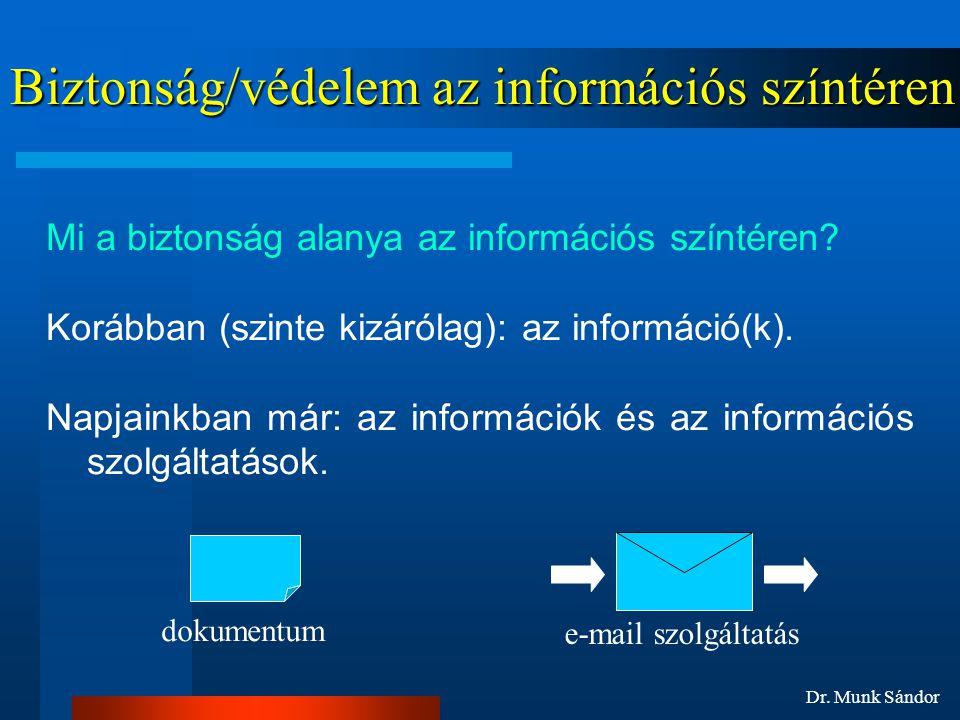 Dr. Munk Sándor Biztonság/védelem az információs színtéren Mi a biztonság alanya az információs színtéren? Korábban (szinte kizárólag): az információ(