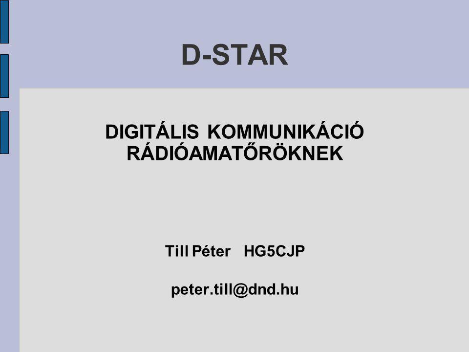 D-STAR D-STAR :Digital Smart Technology for Amateur Radio Nyílt protokol, a JARL (Japanese Amateur Radio League) publikálta.