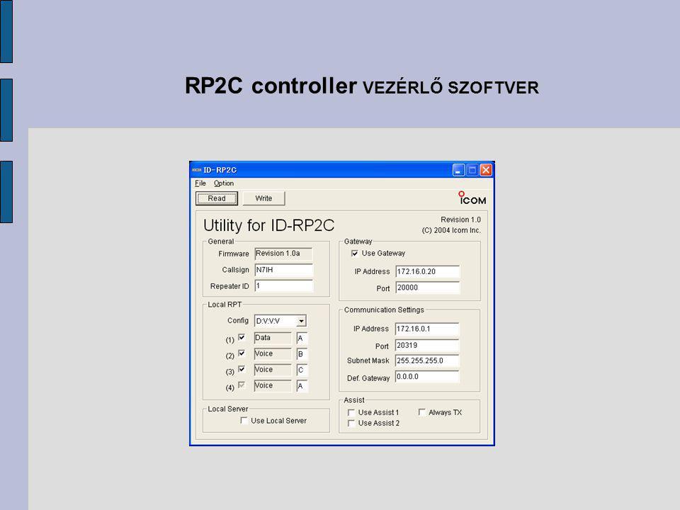 RP2C controller VEZÉRLŐ SZOFTVER