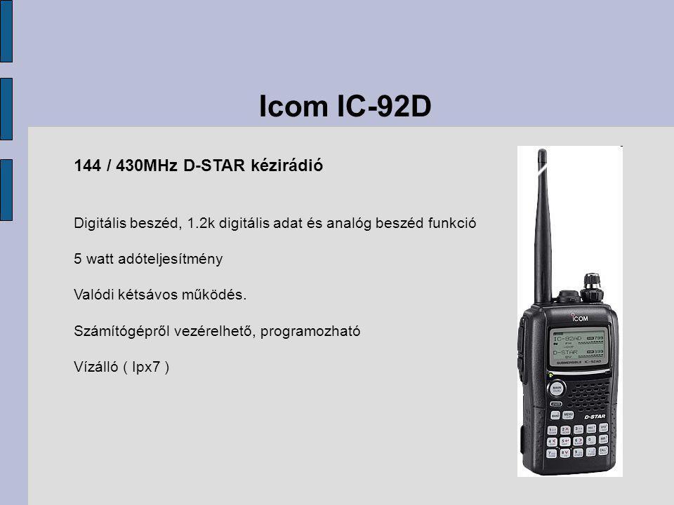 Icom IC-92D 144 / 430MHz D-STAR kézirádió Digitális beszéd, 1.2k digitális adat és analóg beszéd funkció 5 watt adóteljesítmény Valódi kétsávos működés.