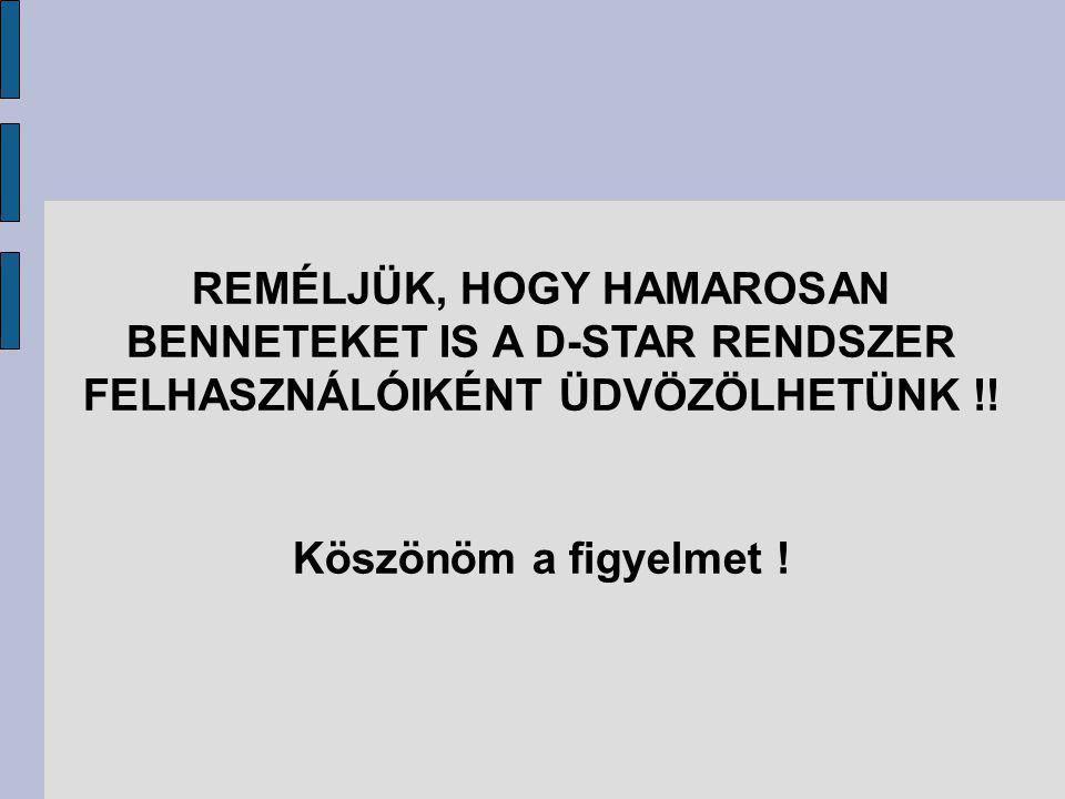 REMÉLJÜK, HOGY HAMAROSAN BENNETEKET IS A D-STAR RENDSZER FELHASZNÁLÓIKÉNT ÜDVÖZÖLHETÜNK !.