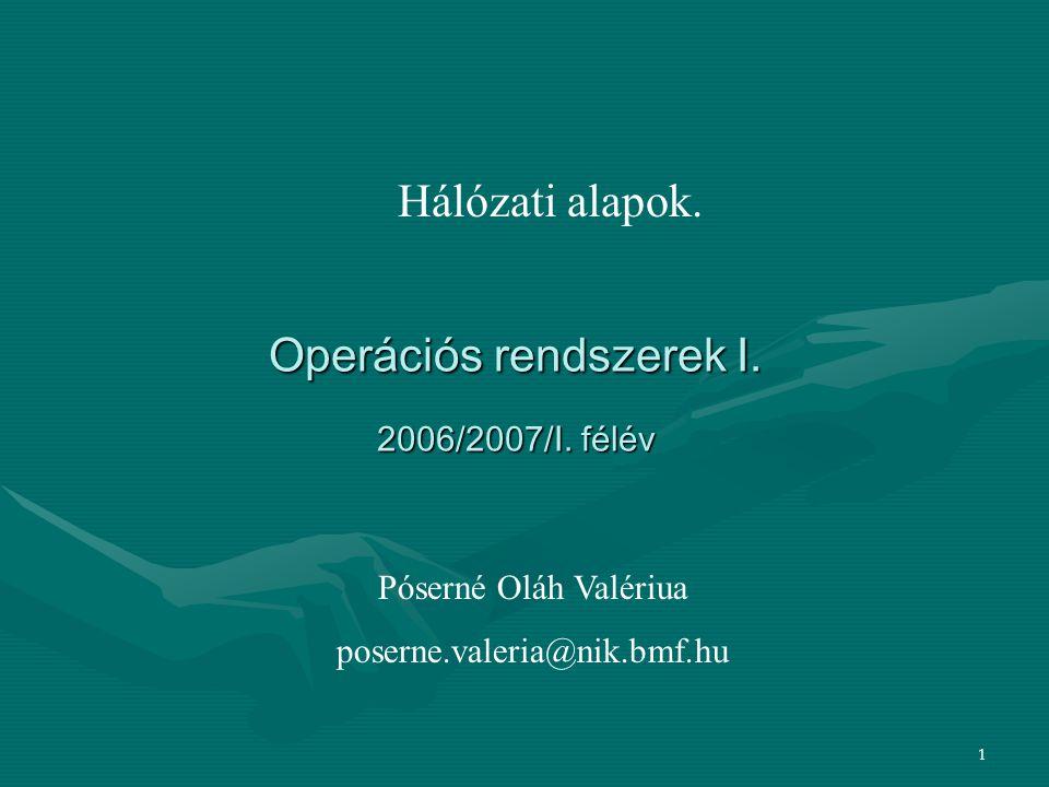 1 Operációs rendszerek I. 2006/2007/I. félév Hálózati alapok. Póserné Oláh Valériua poserne.valeria@nik.bmf.hu
