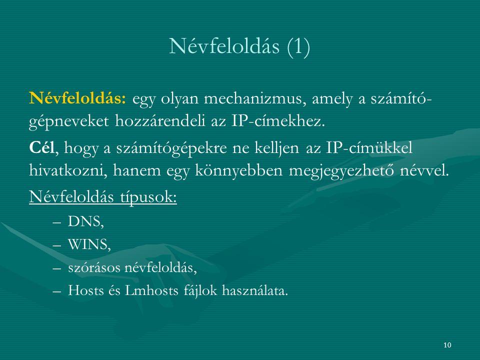 10 Névfeloldás (1) Névfeloldás: egy olyan mechanizmus, amely a számító- gépneveket hozzárendeli az IP-címekhez. Cél, hogy a számítógépekre ne kelljen