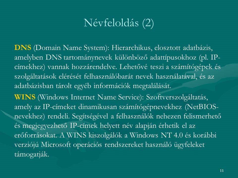 11 Névfeloldás (2) DNS (Domain Name System): Hierarchikus, elosztott adatbázis, amelyben DNS tartománynevek különböző adattípusokhoz (pl.