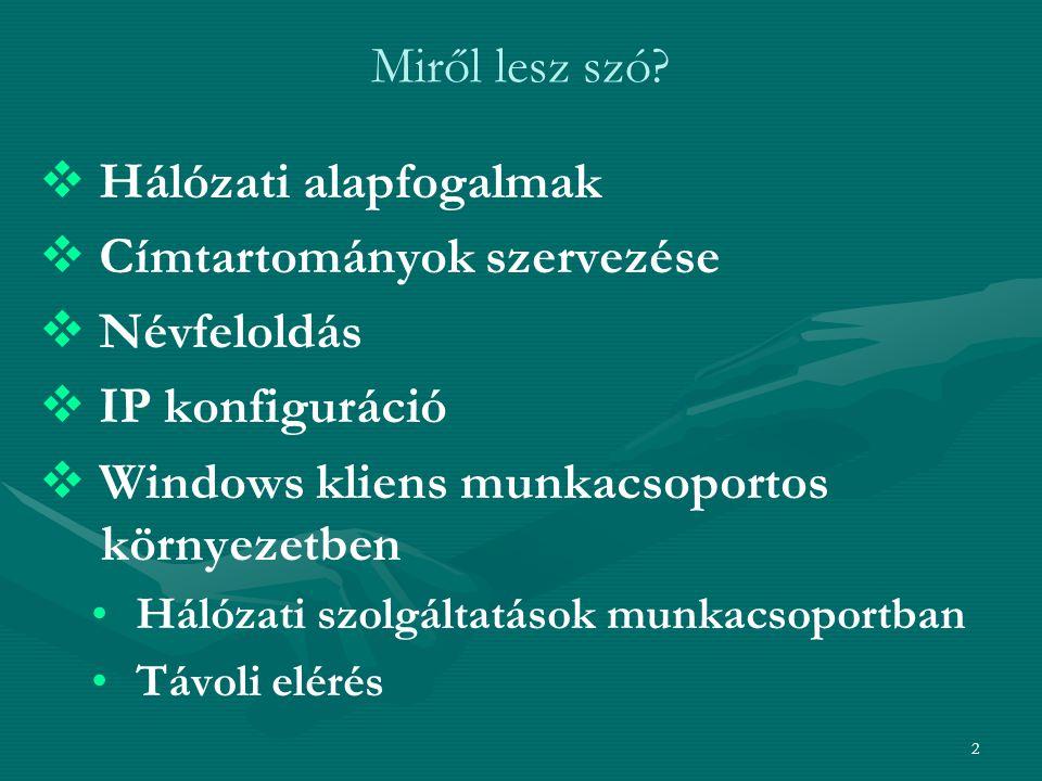 2 Miről lesz szó?   Hálózati alapfogalmak   Címtartományok szervezése   Névfeloldás   IP konfiguráció   Windows kliens munkacsoportos környe