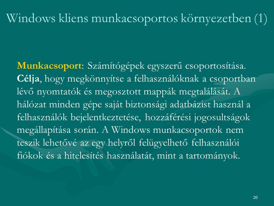 20 Windows kliens munkacsoportos környezetben (1) Munkacsoport: Számítógépek egyszerű csoportosítása. Célja, hogy megkönnyítse a felhasználóknak a cso