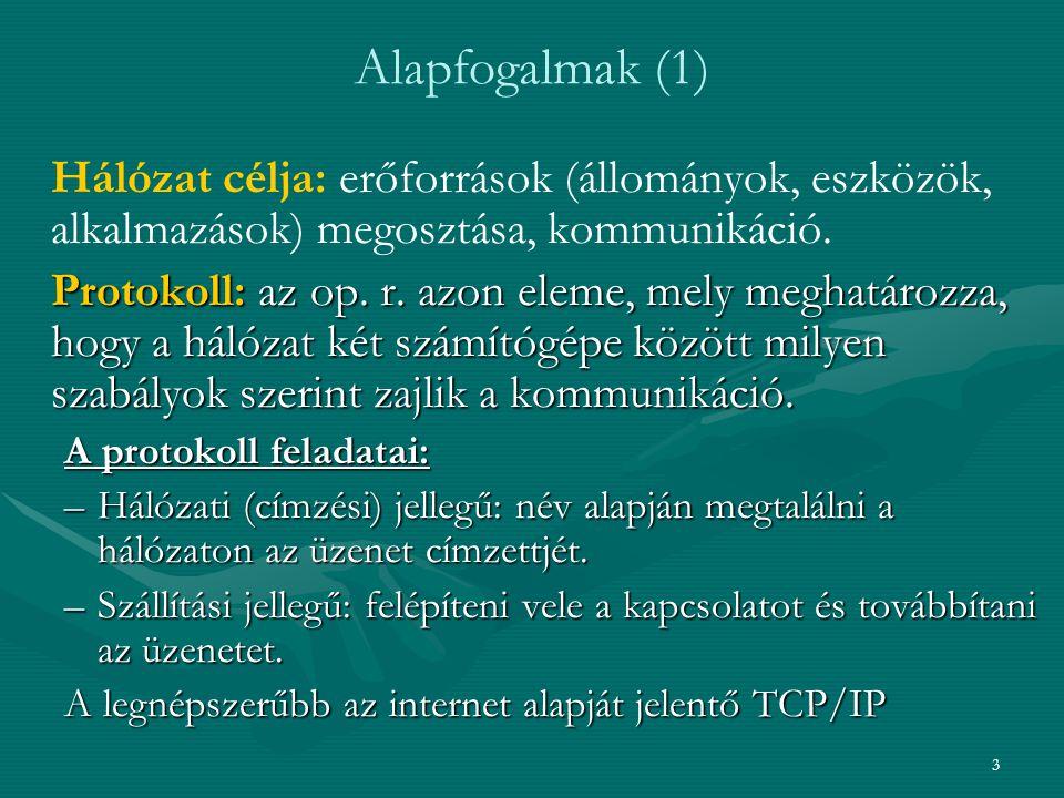 3 Alapfogalmak (1) Hálózat célja: erőforrások (állományok, eszközök, alkalmazások) megosztása, kommunikáció. Protokoll: az op. r. azon eleme, mely meg