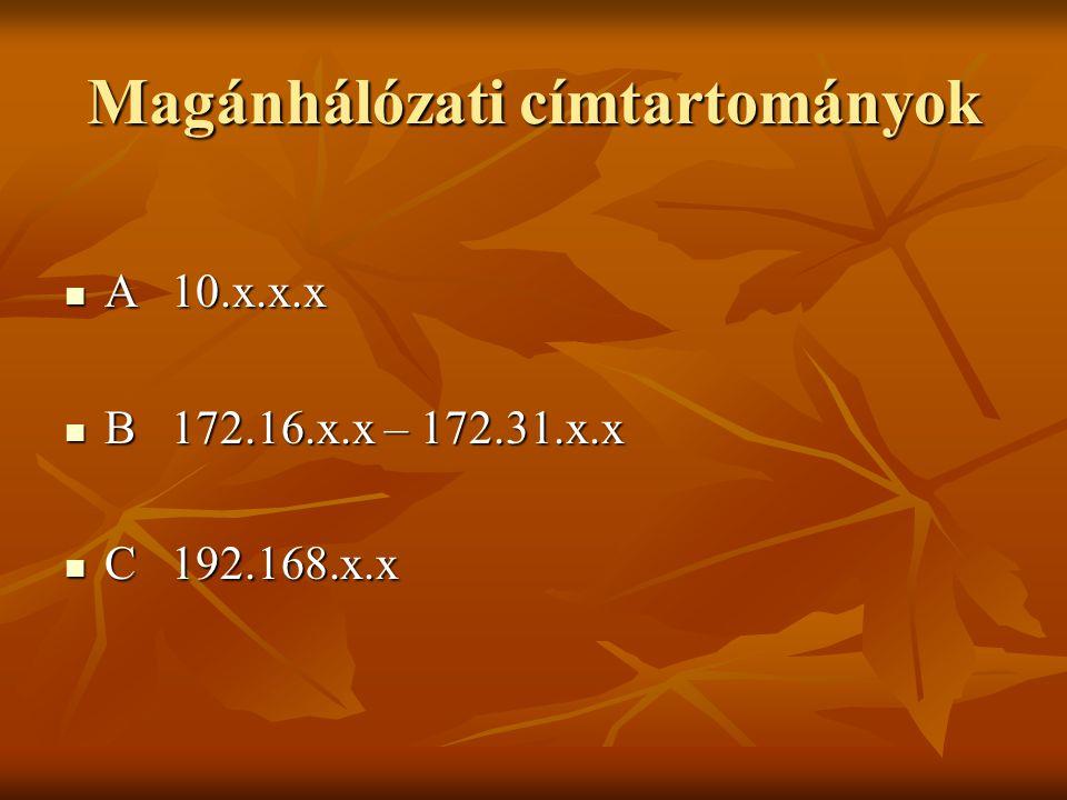 Magánhálózati címtartományok  A10.x.x.x  B172.16.x.x – 172.31.x.x  C192.168.x.x