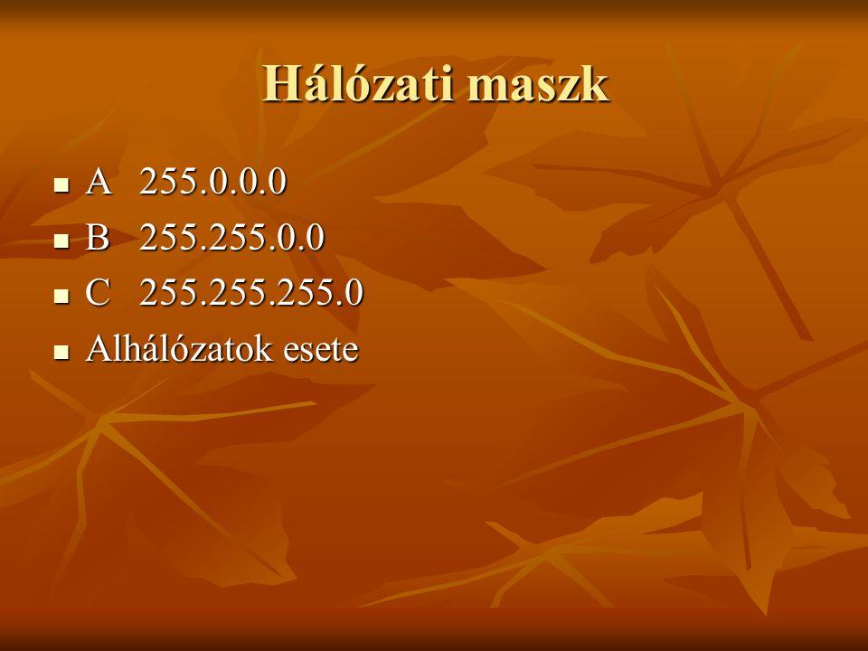 Hálózati maszk  A255.0.0.0  B255.255.0.0  C255.255.255.0  Alhálózatok esete