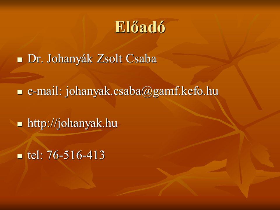 Előadó  Dr. Johanyák Zsolt Csaba  e-mail: johanyak.csaba@gamf.kefo.hu  http://johanyak.hu  tel: 76-516-413