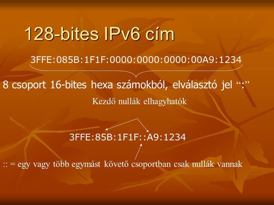 """128-bites IPv6 cím 3FFE:085B:1F1F:0000:0000:0000:00A9:1234 8 csoport 16-bites hexa számokból, elválasztó jel """" : """" 3FFE:85B:1F1F::A9:1234 :: = egy vag"""