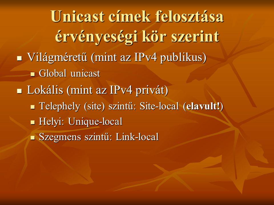 Unicast címek felosztása érvényeségi kör szerint  Világméretű (mint az IPv4 publikus)  Global unicast  Lokális (mint az IPv4 privát)  Telephely (s