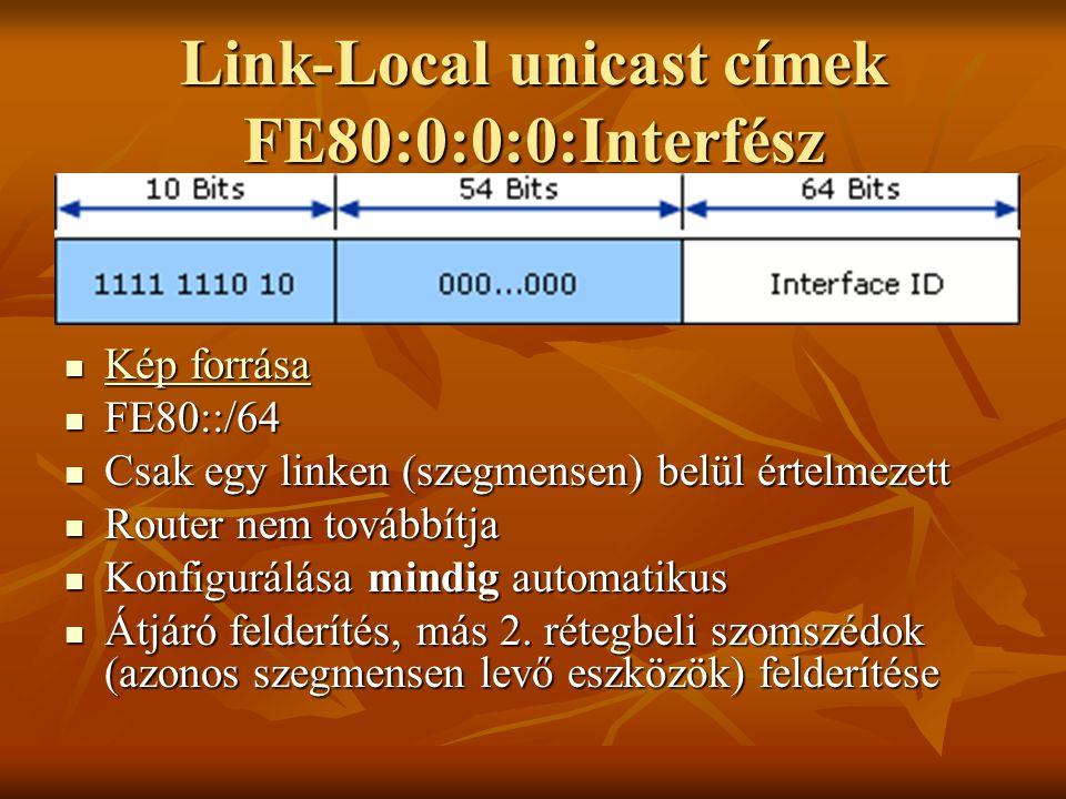 Link-Local unicast címek FE80:0:0:0:Interfész  Kép forrása Kép forrása Kép forrása  FE80::/64  Csak egy linken (szegmensen) belül értelmezett  Rou
