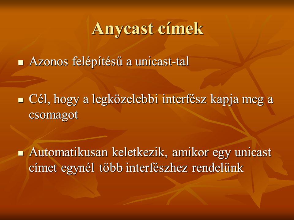 Anycast címek  Azonos felépítésű a unicast-tal  Cél, hogy a legközelebbi interfész kapja meg a csomagot  Automatikusan keletkezik, amikor egy unica
