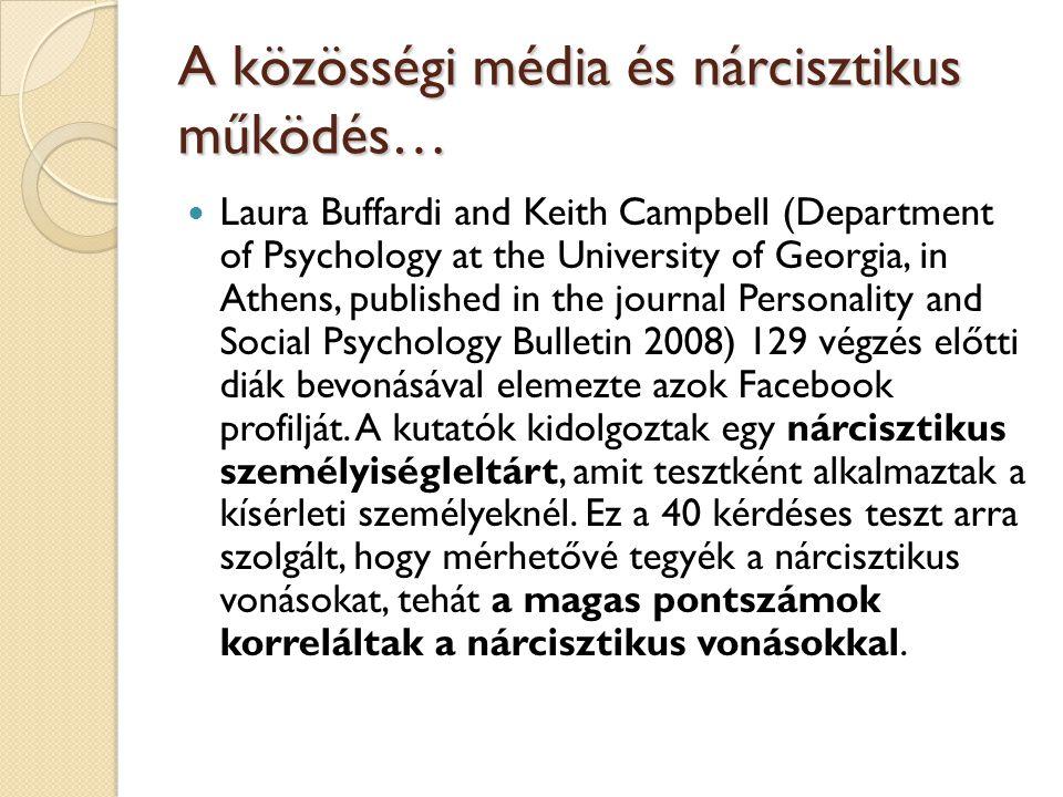 A közösségi média és nárcisztikus működés…  Laura Buffardi and Keith Campbell (Department of Psychology at the University of Georgia, in Athens, publ