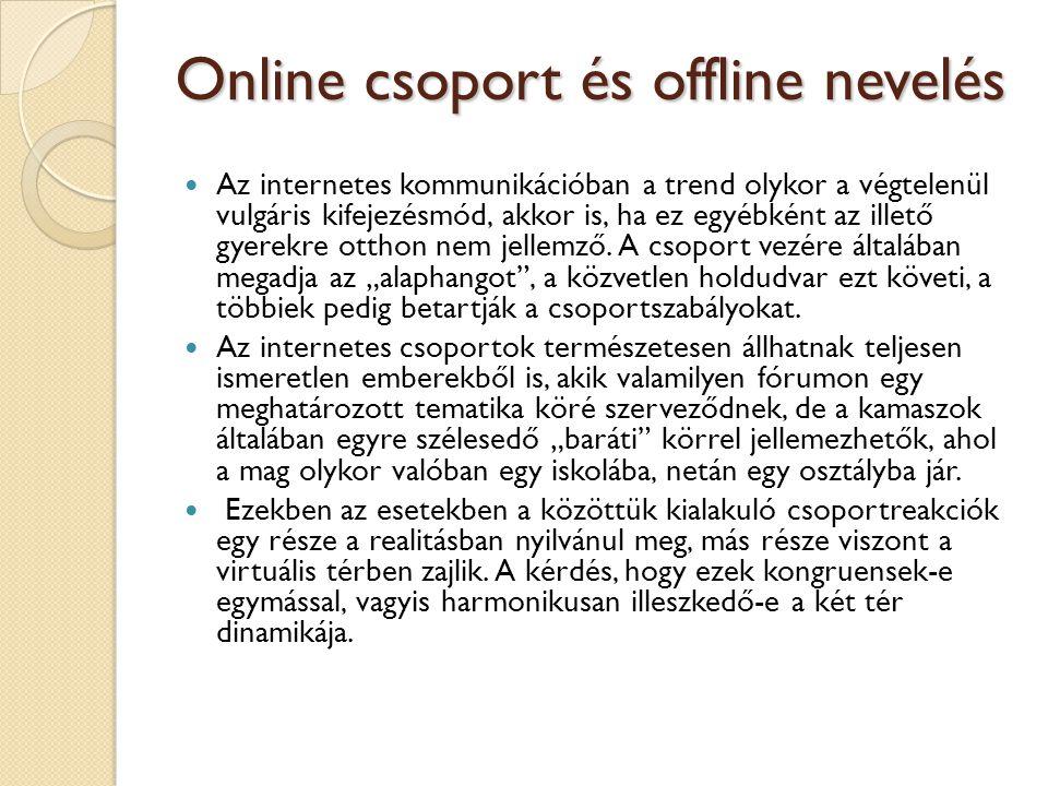 Online csoport és offline nevelés  Az internetes kommunikációban a trend olykor a végtelenül vulgáris kifejezésmód, akkor is, ha ez egyébként az ille
