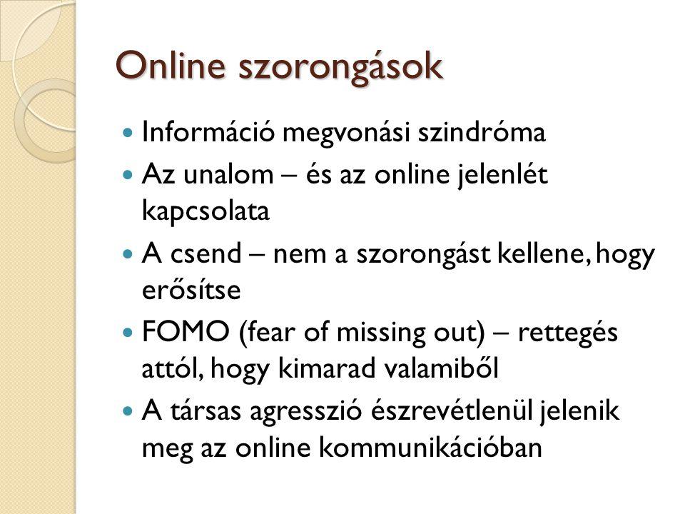 Online szorongások  Információ megvonási szindróma  Az unalom – és az online jelenlét kapcsolata  A csend – nem a szorongást kellene, hogy erősítse