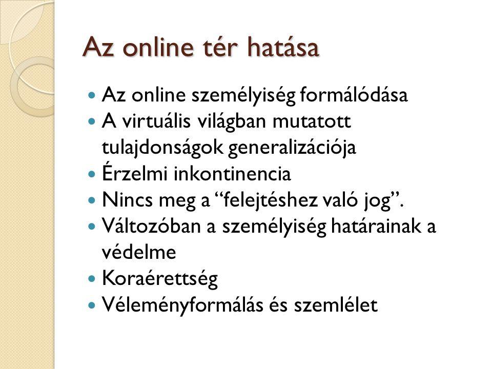 Az online tér hatása  Az online személyiség formálódása  A virtuális világban mutatott tulajdonságok generalizációja  Érzelmi inkontinencia  Nincs