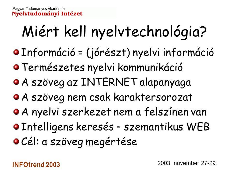 2003.november 27-29. INFOtrend 2003 Mit nyújt a nyelvtechnológia.