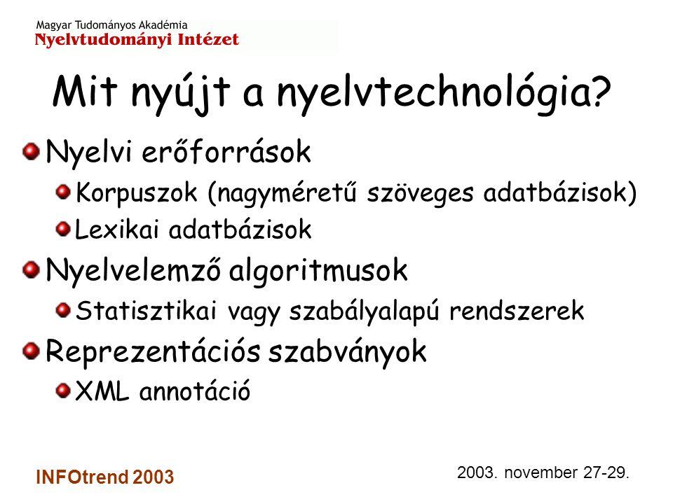 2003. november 27-29. INFOtrend 2003 Mit nyújt a nyelvtechnológia.