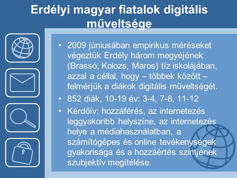 Erdélyi magyar fiatalok digitális műveltsége •2009 júniusában empirikus méréseket végeztük Erdély három megyéjének (Brassó, Kolozs, Maros) tíz iskoláj