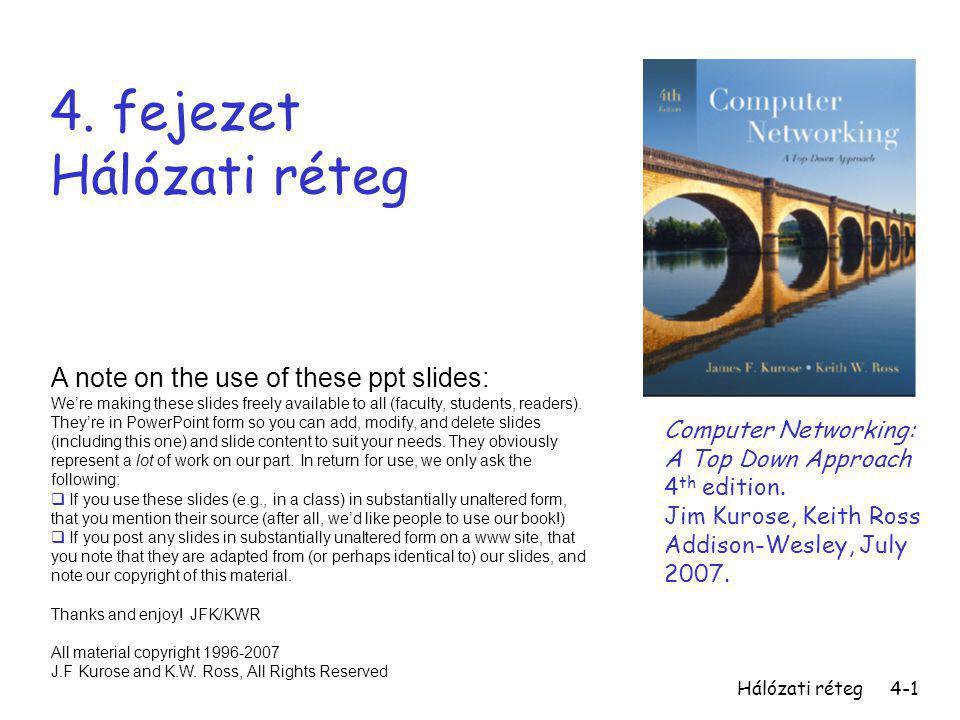 Hálózati réteg4-1 4. fejezet Hálózati réteg A note on the use of these ppt slides: We're making these slides freely available to all (faculty, student