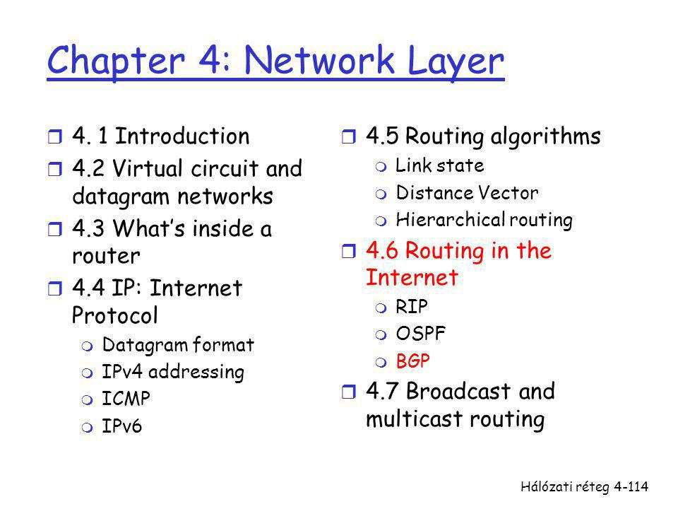 Hálózati réteg4-114 Chapter 4: Network Layer r 4. 1 Introduction r 4.2 Virtual circuit and datagram networks r 4.3 What's inside a router r 4.4 IP: In