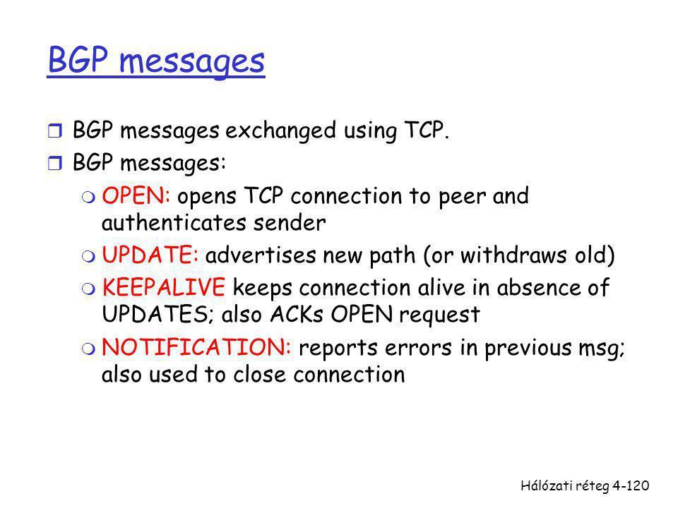 Hálózati réteg4-120 BGP messages r BGP messages exchanged using TCP. r BGP messages: m OPEN: opens TCP connection to peer and authenticates sender m U
