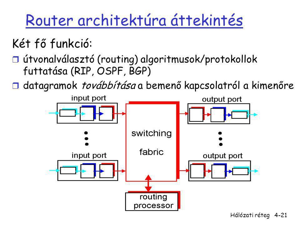 Hálózati réteg4-21 Router architektúra áttekintés Két fő funkció: r útvonalválasztó (routing) algoritmusok/protokollok futtatása (RIP, OSPF, BGP) r da