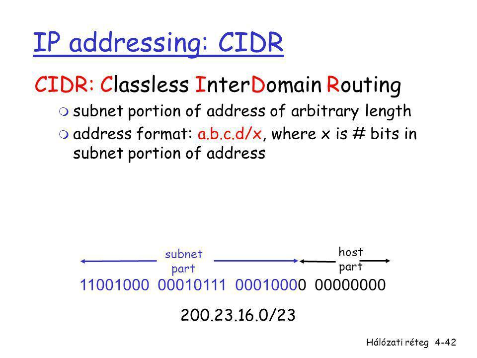 Hálózati réteg4-42 IP addressing: CIDR CIDR: Classless InterDomain Routing m subnet portion of address of arbitrary length m address format: a.b.c.d/x