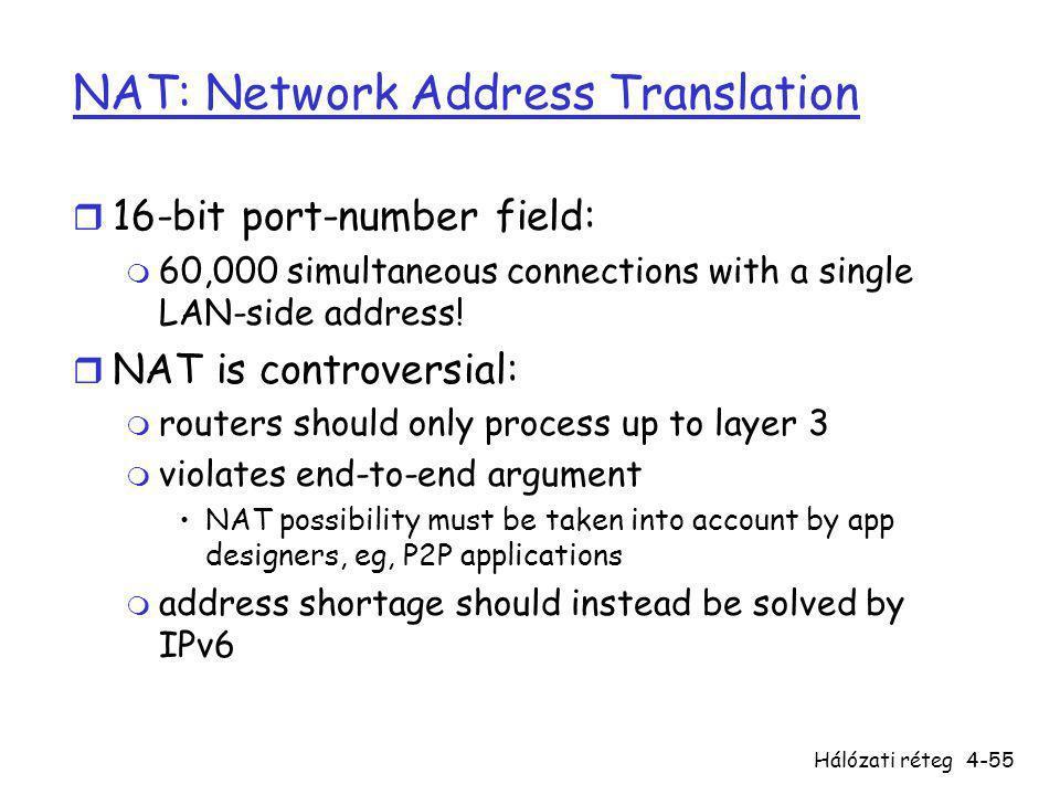 Hálózati réteg4-55 NAT: Network Address Translation r 16-bit port-number field: m 60,000 simultaneous connections with a single LAN-side address! r NA