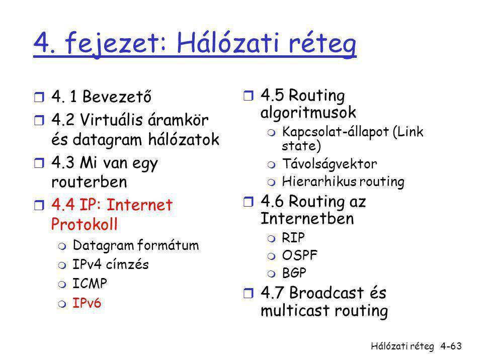 Hálózati réteg4-63 4. fejezet: Hálózati réteg r 4. 1 Bevezető r 4.2 Virtuális áramkör és datagram hálózatok r 4.3 Mi van egy routerben r 4.4 IP: Inter