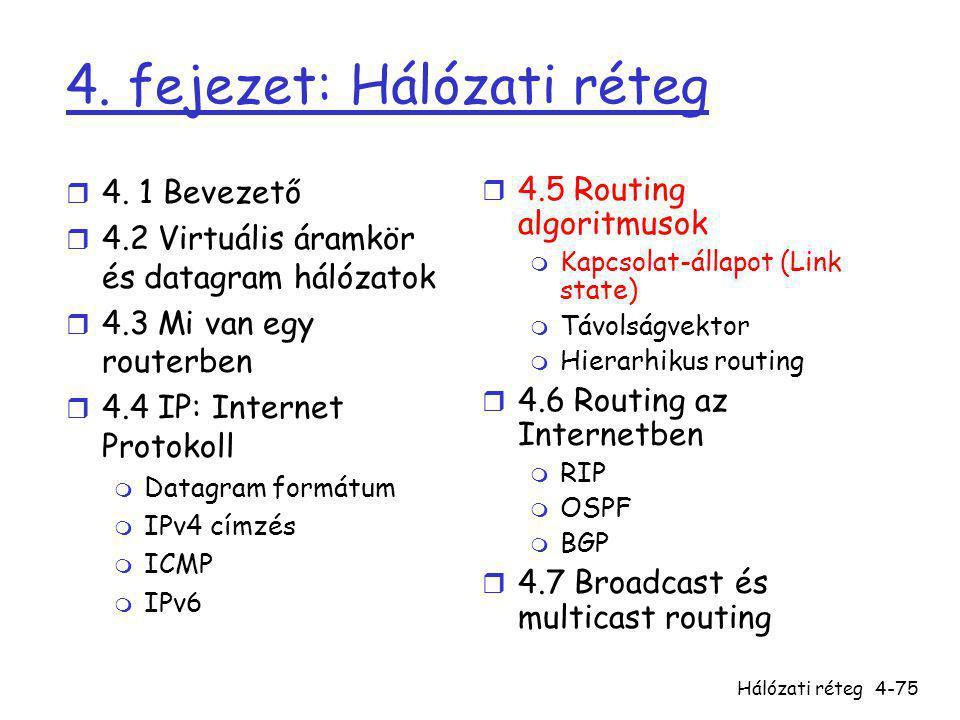 Hálózati réteg4-75 4. fejezet: Hálózati réteg r 4. 1 Bevezető r 4.2 Virtuális áramkör és datagram hálózatok r 4.3 Mi van egy routerben r 4.4 IP: Inter