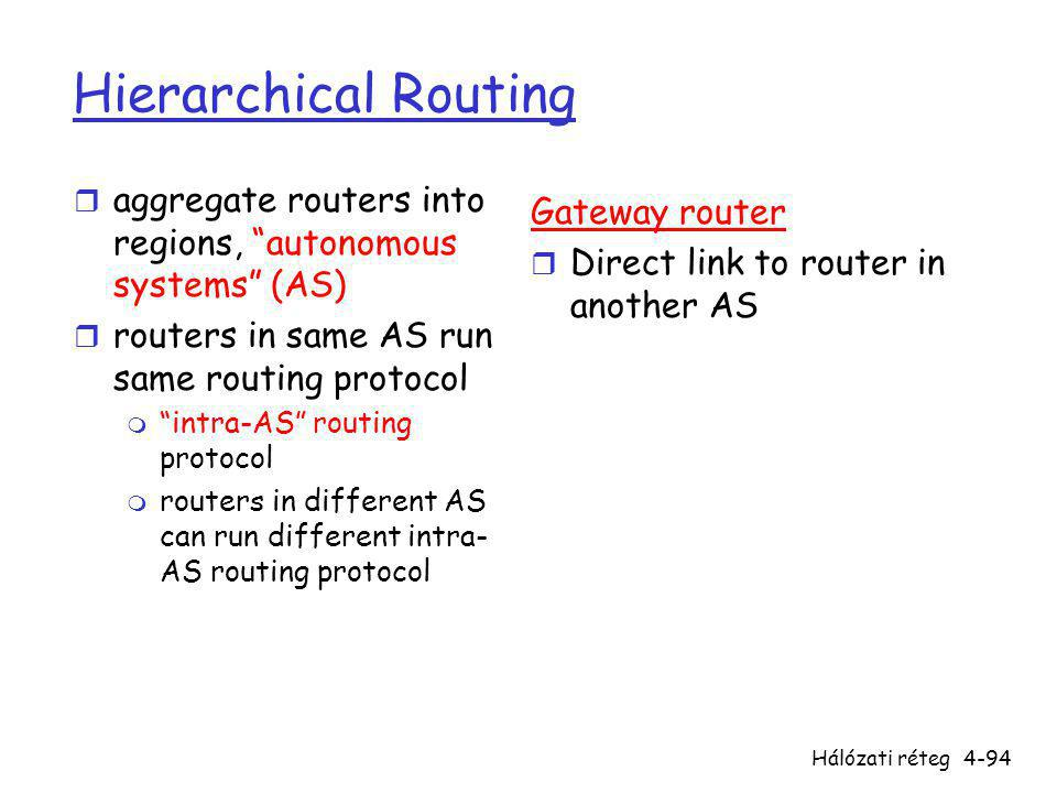 Hálózati réteg4-94 Hierarchical Routing r aggregate routers into regions, autonomous systems (AS) r routers in same AS run same routing protocol m intra-AS routing protocol m routers in different AS can run different intra- AS routing protocol Gateway router r Direct link to router in another AS
